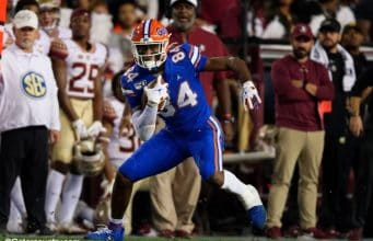 University of Florida tight end Kyle Pitts runs after the catch in the Florida Gators 2019 win over Florida State- Florida Gators football- 1280x853