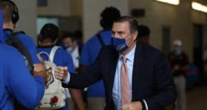 Dan Mullen greets the Gator as they enter Kyle Field- 1218x800