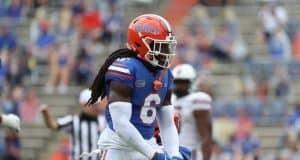 University of Florida safety Shawn Davis celebrates after making a tackles against South Carolina- Florida Gators Football- 1280x938