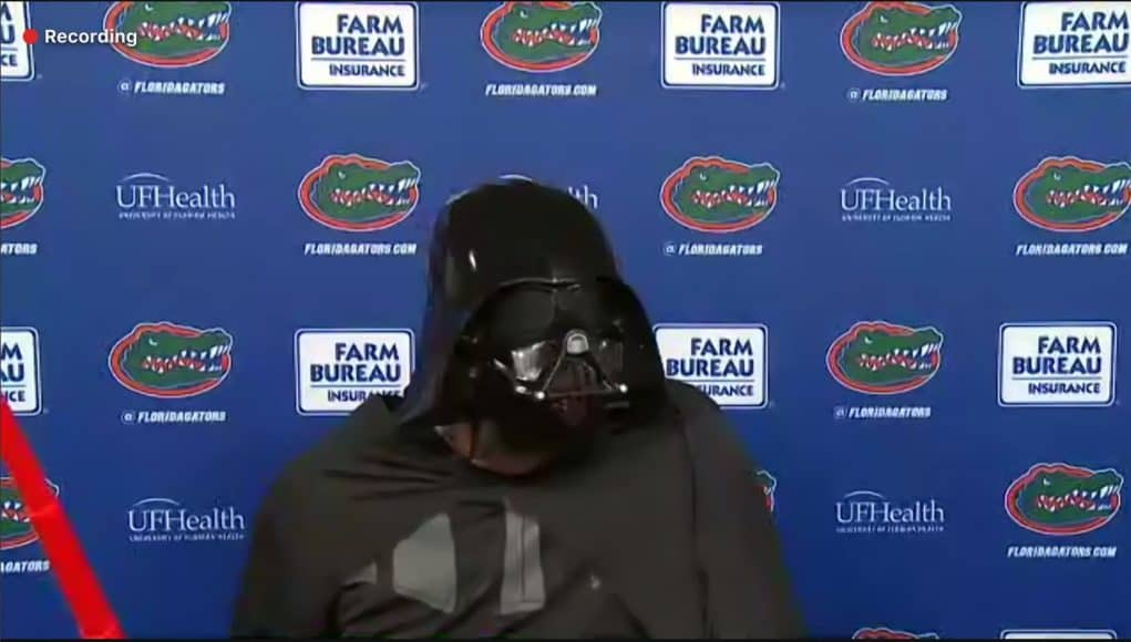 University of Florida head coach Dan Mullen dressed up as Darth Vader for Halloween and surprised his team in the locker room to celebrate the win- Florida Gators Football- 1486x846