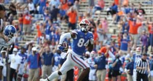 University of Florida tight end Kyle Pitts runs away from Kentucky cornerback Kelvin Joseph for a 56-yard touchdown- Florida Gators football- 1280x920