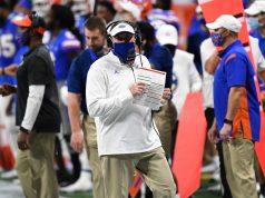 Florida Gators head coach Dan Mullen coaches against Alabama-1200x800