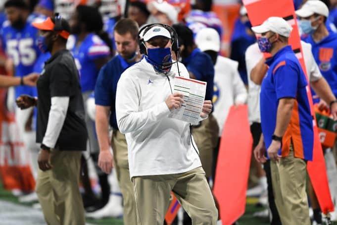 Florida Gators head coach Dan Mullen coaches during 2020-1200x800