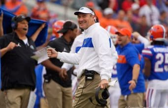 Dan Mullen smiles after a stop against Georgia in 2019 - 1280x853