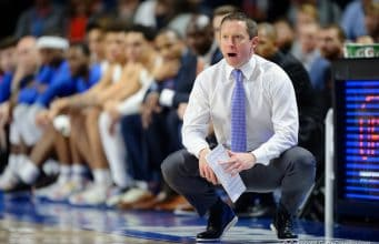 Mike White coaches on the sideline in Florida's 2020 win over Vanderbilt - 1280x854