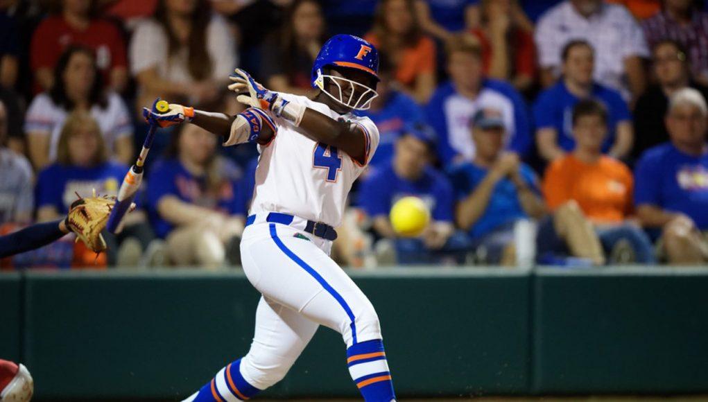 Florida Gators softball player Charla Echols fouls off a pitch -1280x854
