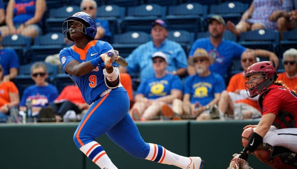 Florida Gators outfielder Jaimie Hoover hits a double against Illinois State - 1280x854