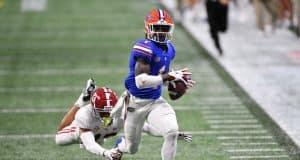 Florida Gators wide receiver Kadarius Toney makes a touchdown catch against Alabama in the SEC Championship Game - 1280x854