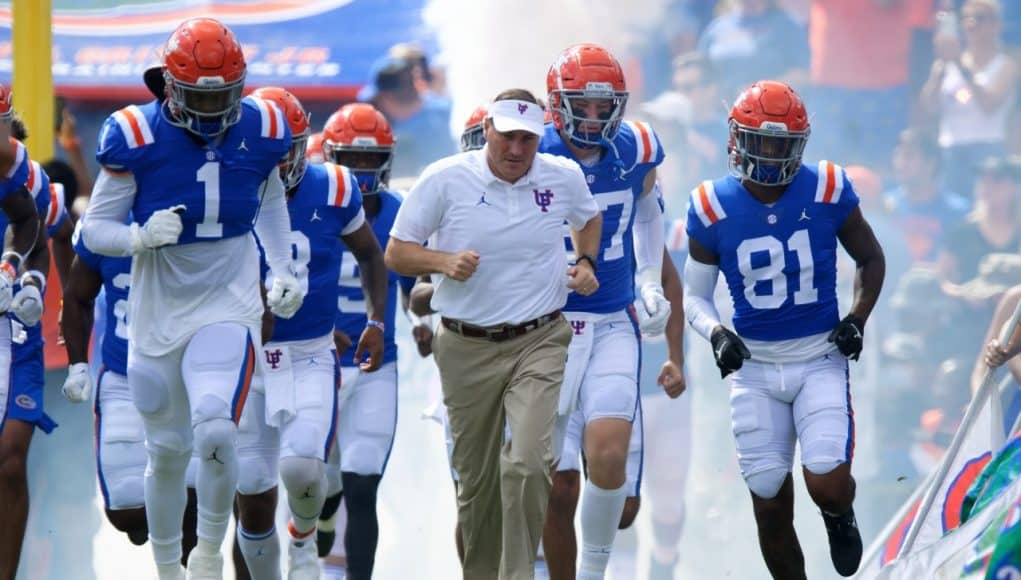 Florida Gators head coach Dan Mullen leads the Gators out of the tunnel before the Vanderbilt game- 1280x853